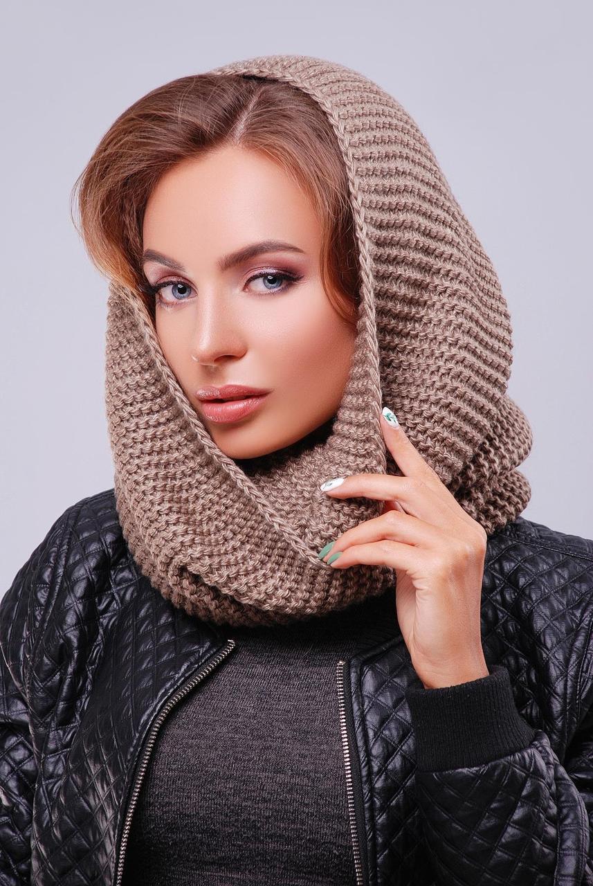Красивый женский теплый вязаный шарф-снуд цвет кофе