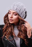 Стильная женская вязаная шапка бини с фактурными узорами темно-серая