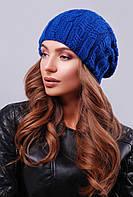 Стильная женская вязаная шапка бини с фактурными узорами цвет электрик