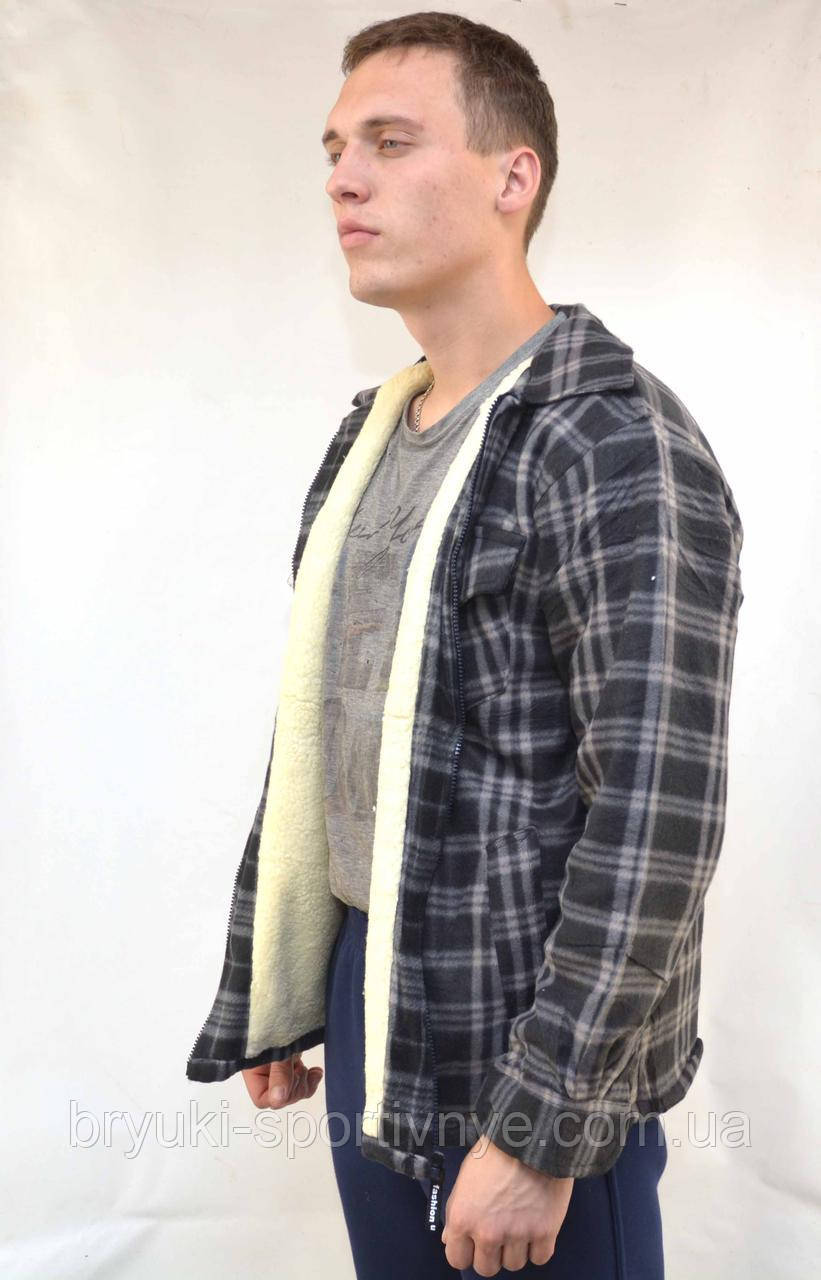db66e6bcd0e939b Куртка - рубашка мужская в клетку на меховой подкладке - застёжка молния -  интернет-магазин