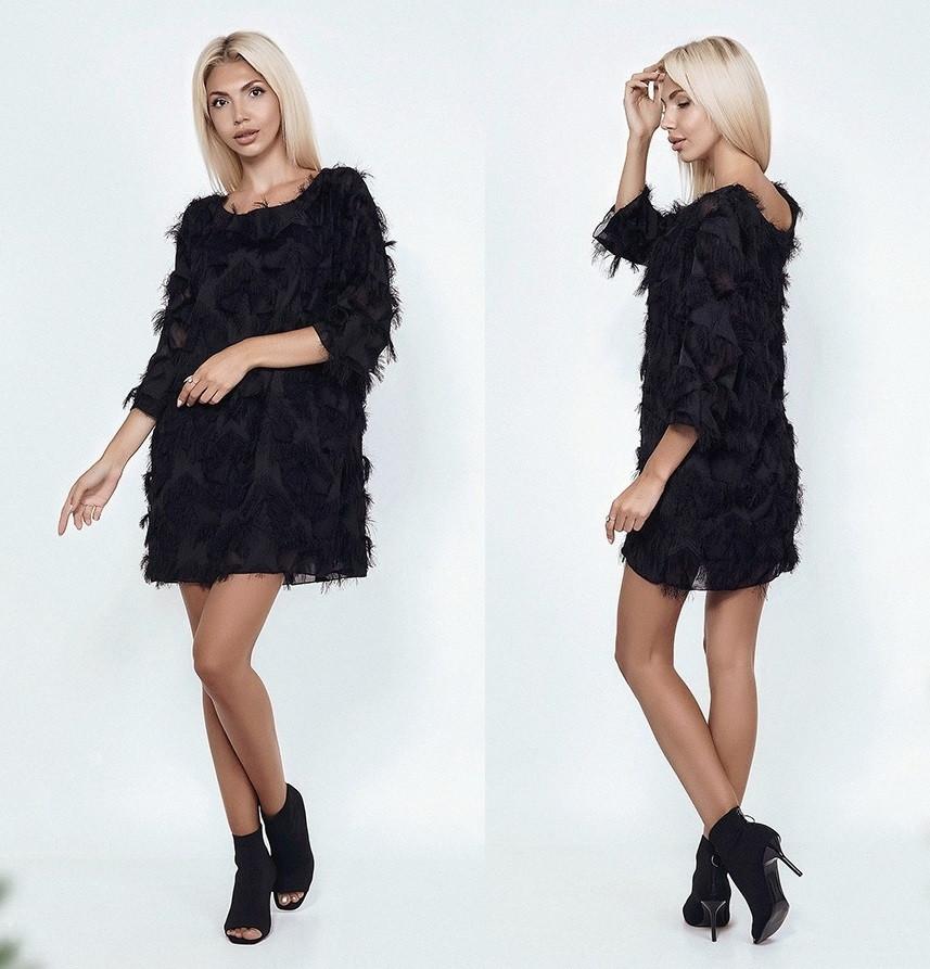 Черное платье выше колен