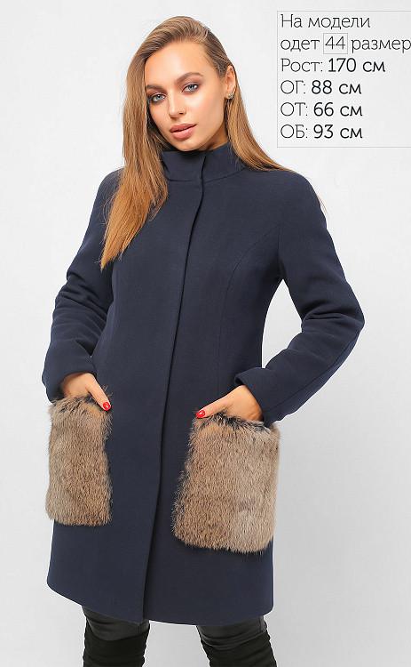 Зимнее женское пальто с мехом синее