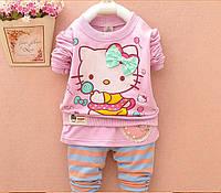 Детский теплый зимний весенний комплект реглан+лосины+юбка  с Китти для девочки 2-5 лет