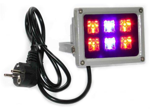 Фито прожектор 12 Вт 220 Вольт  водостойкий для гидропоники, теплиц, растений