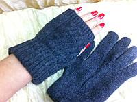 Серые вязанные перчатки с узорными  митенками