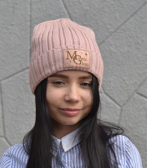 Блестящая зимняя шапка на флисе для подростков и взрослых Мистик, пудра