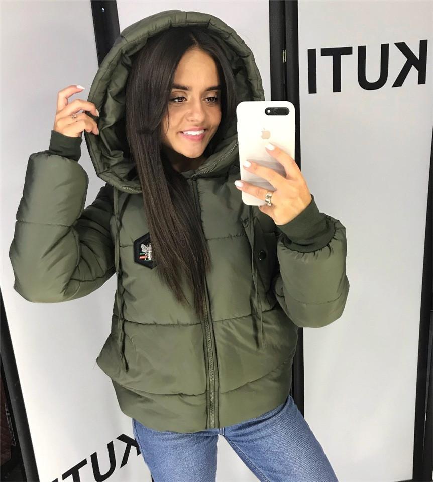 Великолепная женская куртка плащевка, 250 селикон, не продувается Хаки. (4 цвета) Р-ры 42-46. (130)7256.