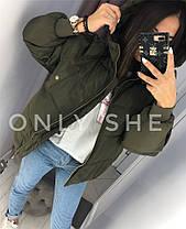 Великолепная женская куртка плащевка, 250 селикон, не продувается Хаки. (4 цвета) Р-ры 42-46. (130)7256., фото 2