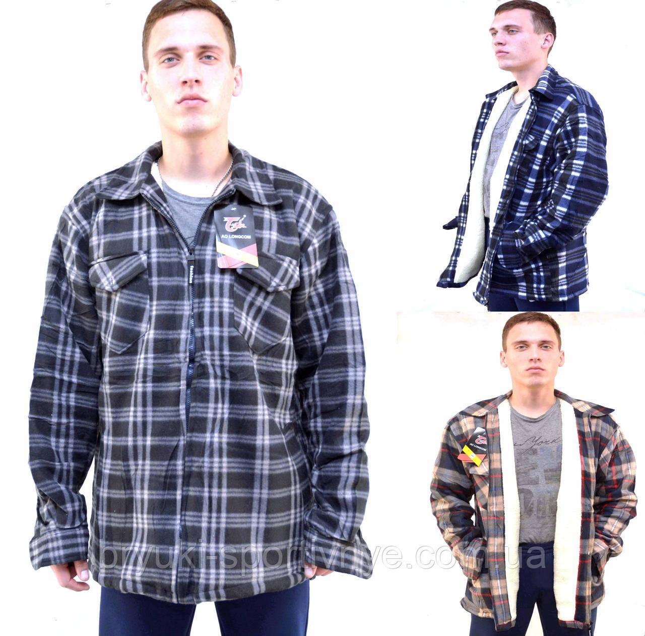 76755c18a3225ca Куртка - рубашка мужская в больших размерах на меховой подкладке - застёжка  молния