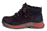 Мужские зимние кожаные ботинки ZG  Brown Nubuk Style, фото 1