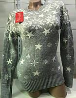 Свитер со снежинками/ звёздами женский (шерсть/ акрил), фото 1