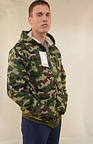Куртка мужская камуфляжная на меховой подкладке с капюшоном - застёжка молния, фото 2