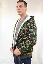 Куртка мужская камуфляжная на меховой подкладке с капюшоном - застёжка молния, фото 3