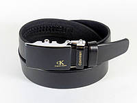 Ремень мужской кожаный 3,5 см CALVIN KLEIN с пряжкой автомат, ремень КЕЛЬВИН КЛЯЙН под брюки ЧЕРНЫЙ (реплика)