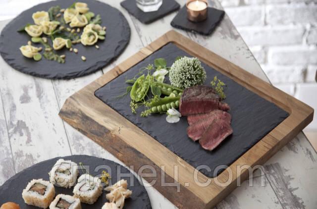 Поднос, тарелка, блюдо 30х14,5 см сланцевая посуда на деревянной подставке