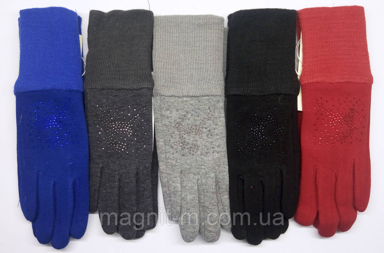 """Підліткові трикотажні рукавички """"КОРОЛЕВА"""" зі стразами"""