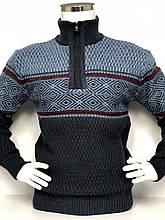 Теплий светр чоловічий з високим горлом і змійкою FIVE 5 джемпер великого размерв