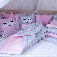"""Комплект бортиков в детскую кроватку """"Розовое настроение """""""