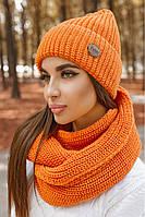 Женский зимний комплект  шапка с хомутиком