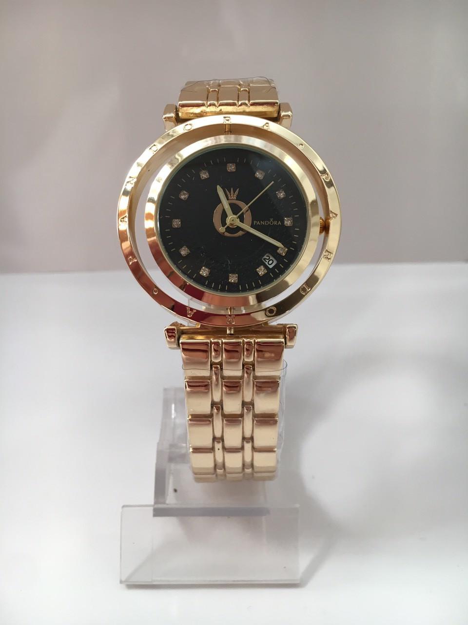 Золотые часы мужские с черным циферблатом