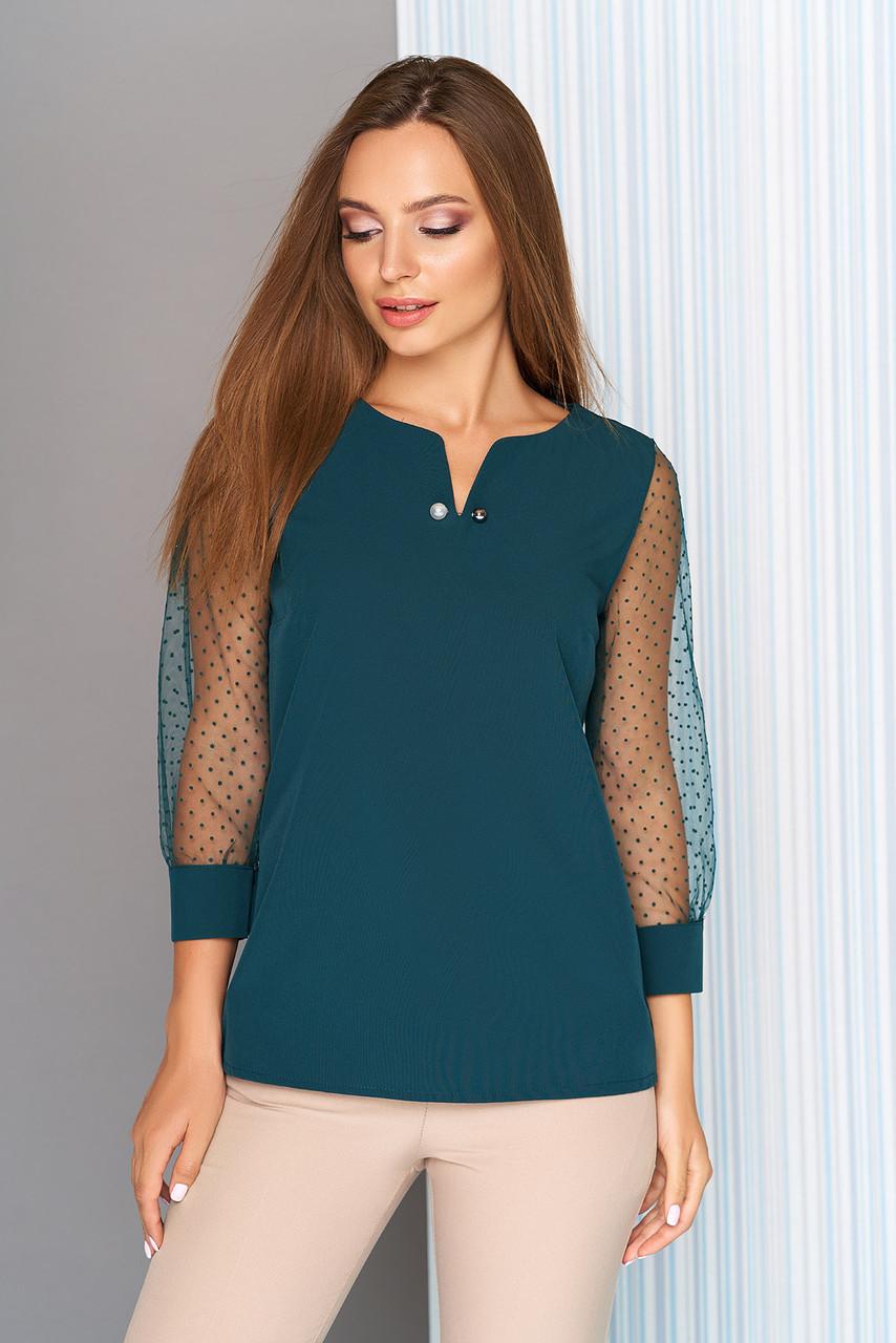 Нарядная блузка с рукавами в горошек