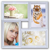Рамка коллаж из дерева на 4 фото, на стену.