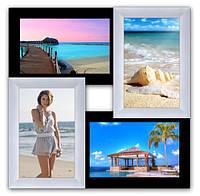 Декоративная рамка на стену на 4 фото, черно - белая., фото 1