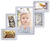 Фоторамка на стену на 5 фотографий, белая., фото 1