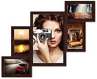 Фоторамка коллаж на 5 фото. Лесенка, коричневая., фото 1