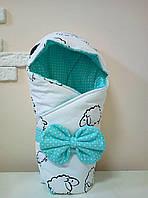 Теплый конверт-одеяло со съемным капюшоном на выписку зима 80х80см бело/бирюзовый звезды