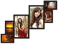 Мультирамка коллаж из дерева на 6 фото, коричневая.