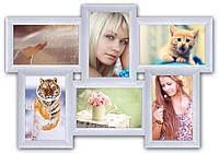 Фоторамка на стену на 6 фотографий, белая.
