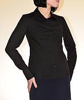 Черная классическая женсккая блуза с длинным рукавом