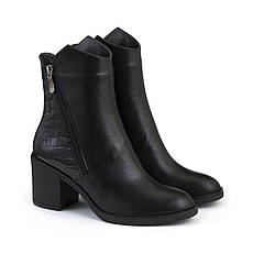 VM-Villomi Черные кожаные ботинки на небольшом каблуке