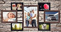 Деревянная рамка на стену на 7 фотографий.