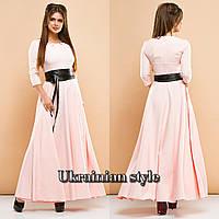 Женское трикотажное однотонное длинное платье с кожаным поясом. Цвета!