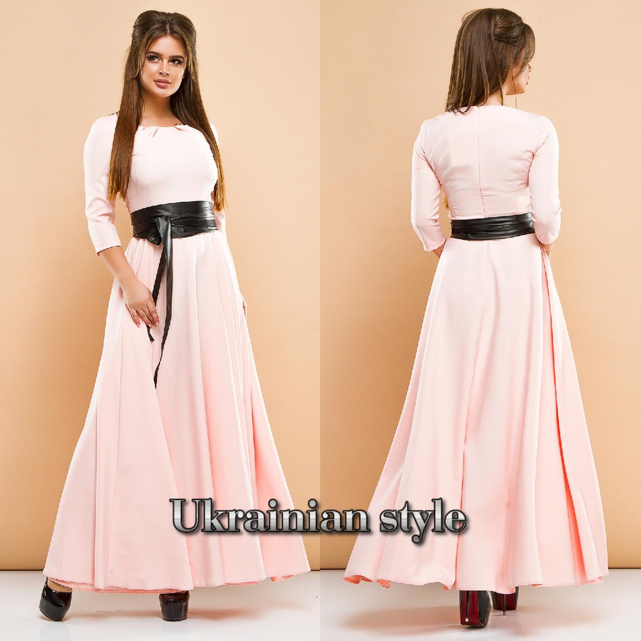 8494976203c Женское трикотажное однотонное длинное платье с кожаным поясом. Цвета!