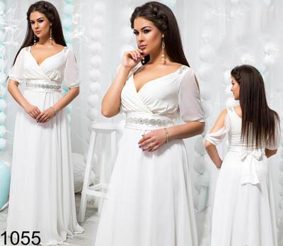 8c366b7553b Вечернее белое платье с шифоном 821055 купить недорого Украина ...