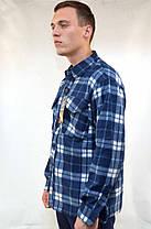 Рубашка мужская флисовая в клетку на пуговицах, фото 3