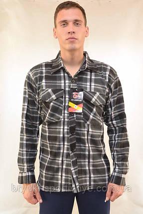 Рубашка мужская флисовая в клетку на пуговицах, фото 2