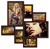 Мультирамка из дерева на 7 фото. Волна любви коричневая.