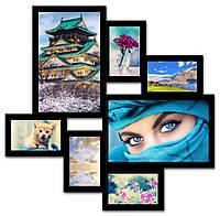 Рамка на 7 фото. цвет: белый, черный, коричневый, черно-белый., фото 1