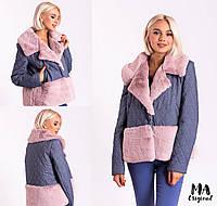Куртка женская / стежка джинс, мех иск., синтепон 100 / Украина 7-5-664, фото 1