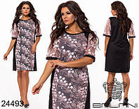 Нарядное прямое платье вышивка на сетке раз.50-60