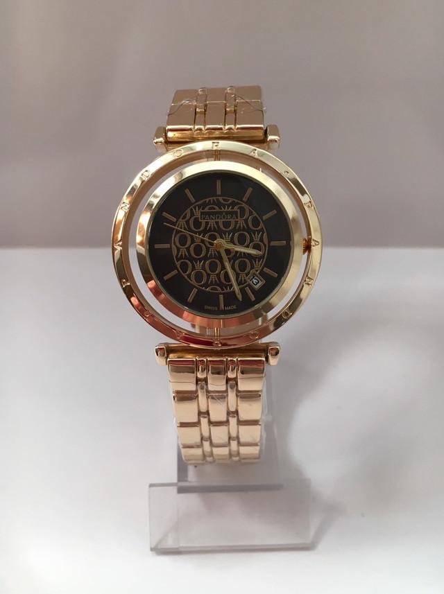 4adeb2d67157 Женские наручные часы Pandora (Пандора), золотистый корпус с черным  циферблатом