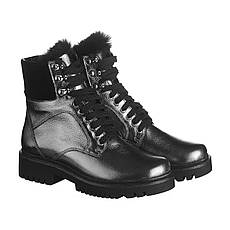 VM-Villomi Уникальные ботинки в коже серебреного цвета с черным мехом