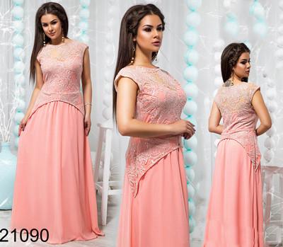 101244a49d7 Вечернее длинное платье с гипюром персик 821090 купить недорого ...