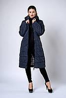 Женское молодежное демисезонное пальто. Код модели К-133-37-18. Цвет синий.