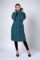 Женское молодежное демисезонное пальто. Код модели К-133-37-18. Цвет изумруд.