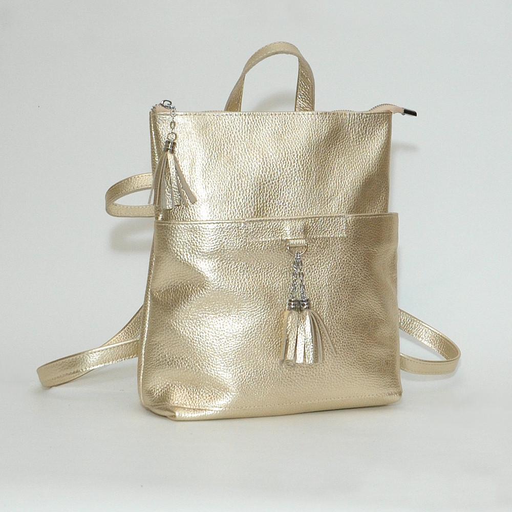 Рюкзак трансформер кожаный модель 05 золотой флотар
